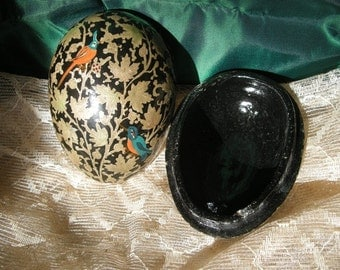 Vintage  Decorated Black Lacquer Papier Mache Egg Shaped  Box / Container with Birds