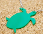 Sally the Sea Turtle Green Acrylic Necklace