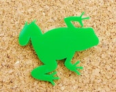 Phileas the Frog Green Acrylic Brooch