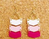 In The Pink Ombre Chevron Acrylic Earrings