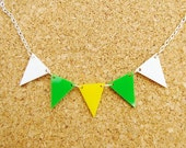 Norwich - Green, Yellow and White Bunting Necklace