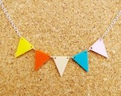 St Ives - Blue, Pink, Cream, Orange and Yellow Bunting Necklace