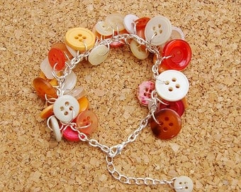 Peaches and Cream Upcycled Button Bracelet