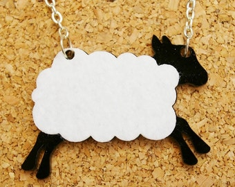 Sharon the Sheep Black Acrylic Necklace