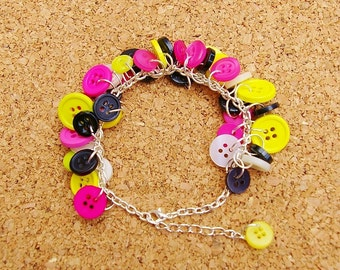 N.E.O.N Upcycled Button Bracelet