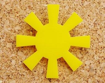Sunshine Yellow Acrylic Brooch
