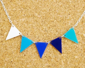 Oxford - Blue and White Bunting Necklace