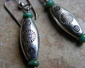 Silver & Turquoise Southwestern Style Drop Hypoallergenic Niobium Earrings