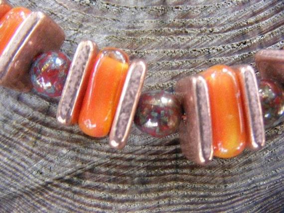 Vintage Raku Delight Handblown Glass and Copper Necklace - OOAK