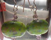 Handmade lampwork earrings - green with colorful frit