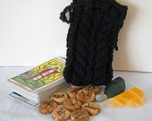 Black Wool  Knit Tarot Rune Treasure Bag SALE