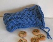 Heather Blue Wool Knit Tarot Rune Treasure Bag SALE
