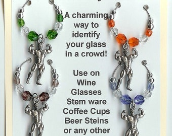 Body Builder Weight Lifter Wine Charms W Pouch