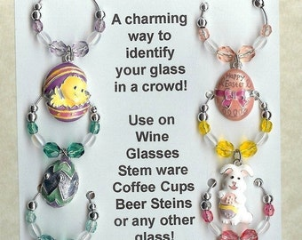 Easter Theme  Wine Charms w/ Pouch B
