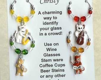 Cat Kitten Kitty w/ Musical Instruments Wine Charms