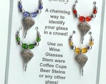 Sky Diving Parachute AIRBORNE MILITARY Wine Charms