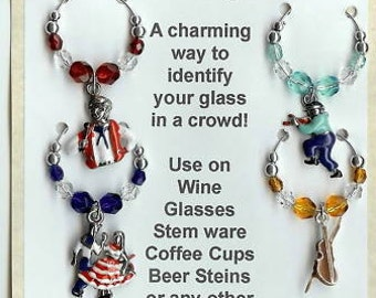 Square Dance Square Dancing Wine Charms with pouch