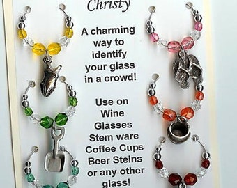 Day at the Beach Ocean Sand Play Wine Charms v2