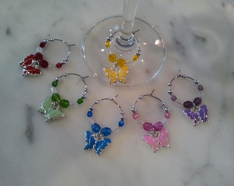 Butterfly Butterfliles Wine Charms with Pouch Set of 6