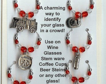 Fire Fireman Firefighter EMT Wine Charms V8