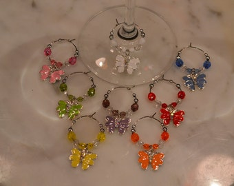 Butterfly Butterfliles set of 8 with rhinestone Wine Charms with Pouch v7