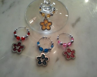 Mickey Mouse Flower with Head Ears  Wine Charms