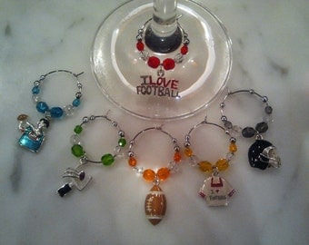 Football Football Lover  Wine Charms
