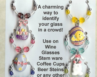 Easter Theme  Wine Charms w/ Pouch F
