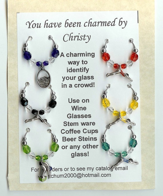 Swimming Swmimmer  Diving Pool Wine Charms NEW