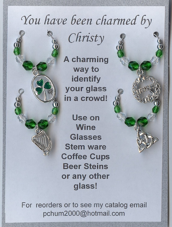 Irish Ireland St. Patrick's Day Wine Charms