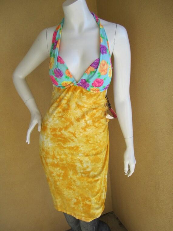 Yellow tie dye t shirt bikini dress