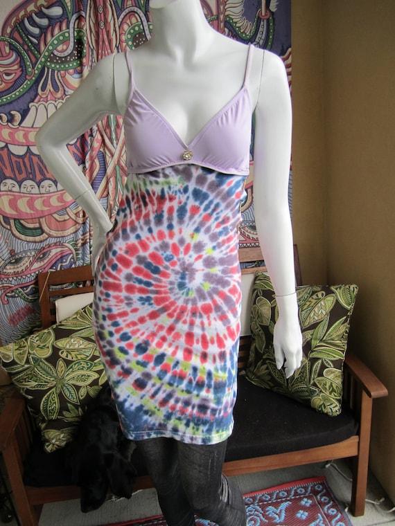 Purple, Red, Blue, Yellow and green t shirt bikini dress with hemp stitching