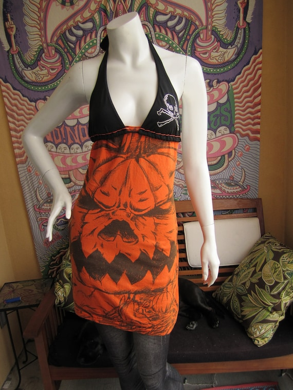 Halloween Pumpkin t shirt bikini dress with hemp stitching