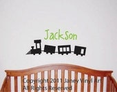 Train with Name -Vinyl Wall Art Decal - Nursery Train Monogram  - For Childs Bedroom - Wall Decor