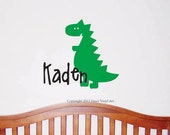 Dinosaur Name Nursery Decal - Boys Sticker Wall Art - Name and Dinosaur Wall Decal