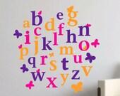 Alphabet Decals Butterfly ABCs Vinyl Wall Art Decal Nursery Wall Decals Preschool Wall Art Babys Room Toddlers Bedroom Kid Decals