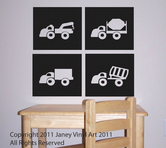 Truck Vehicle Vinyl Wall Decal - Boys Bedroom - Dump Truck - Kids Room Nursery Decor