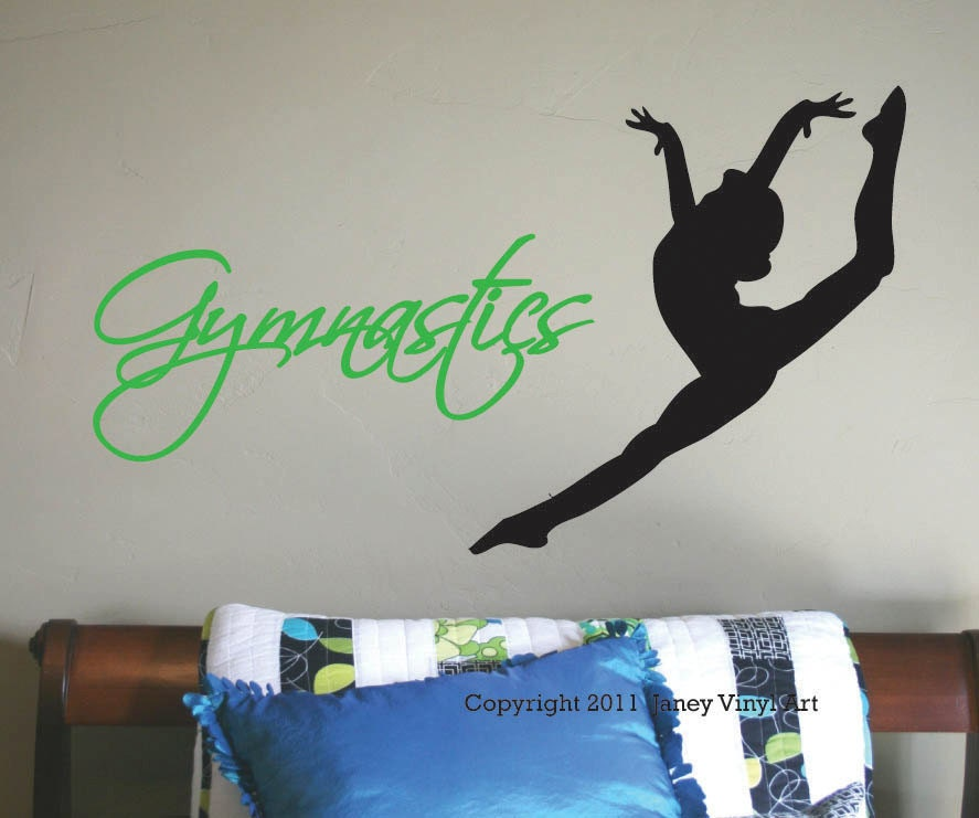 Gymnastics decal vinyl wall art girls bedroom by janeyvinylart for Gymnastics wall decals