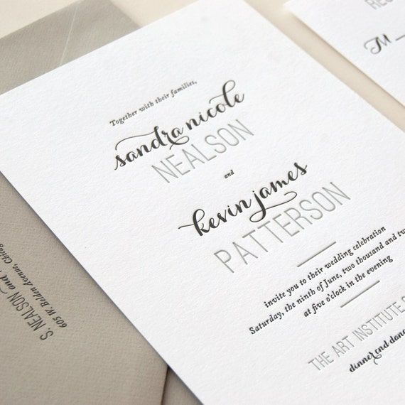 Letterpress Invitation Wedding Sample - Affair