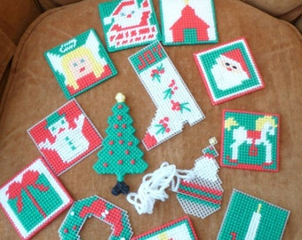 Christmas Ornaments, Handmade, Supplies, Plastic Canvas, Ornament Collection, Thirteen Ornaments, Needle, Unique Tags, Christmas Decorations