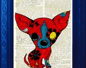 Vintage Dictionary Page with Original Art Chiwawa Pop Art