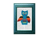 Southwest Owl French Dictionary Page Fun Art