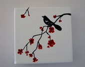 Red Cherry Blossoms Canvas Art Block Home Decor Original Painting A101