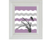 Sale Chevron Lavender and Gray Print in Modern Design Fashion with Bird 8 x 10