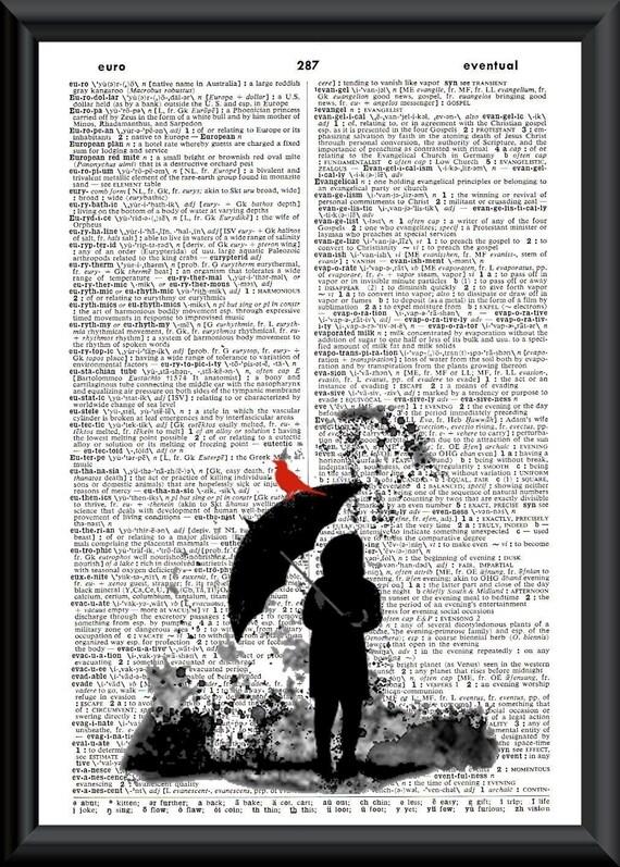 ON SALE Rain Puddles Vintage Book Page Art