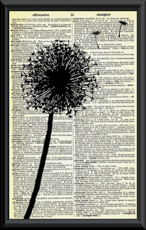 Make a Wish Dandelion Vintage Dictionary Page Art