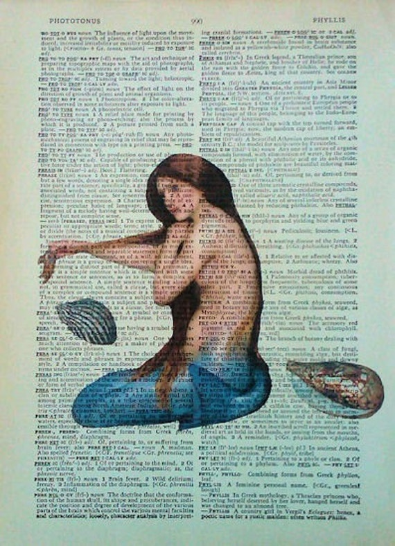 Blue Eyed Mermaid and Shells Vintage Dictionary Page Art