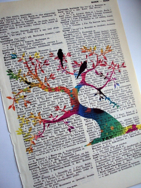 Tree of Life Vintage  English to French Dictionary Page Art