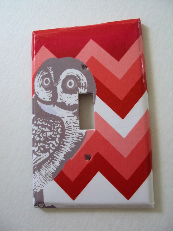 Gray Owl Chevron Single Light Switch Cover Your Color Choice