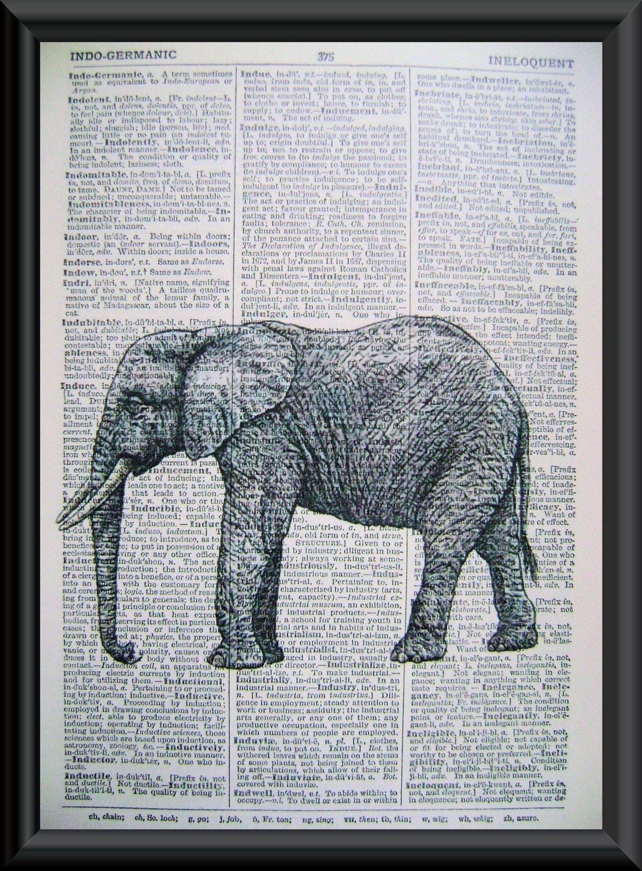 Antique Elephant Illustration Vintage Book by LilysNurseryShop Vintage Elephant Illustration